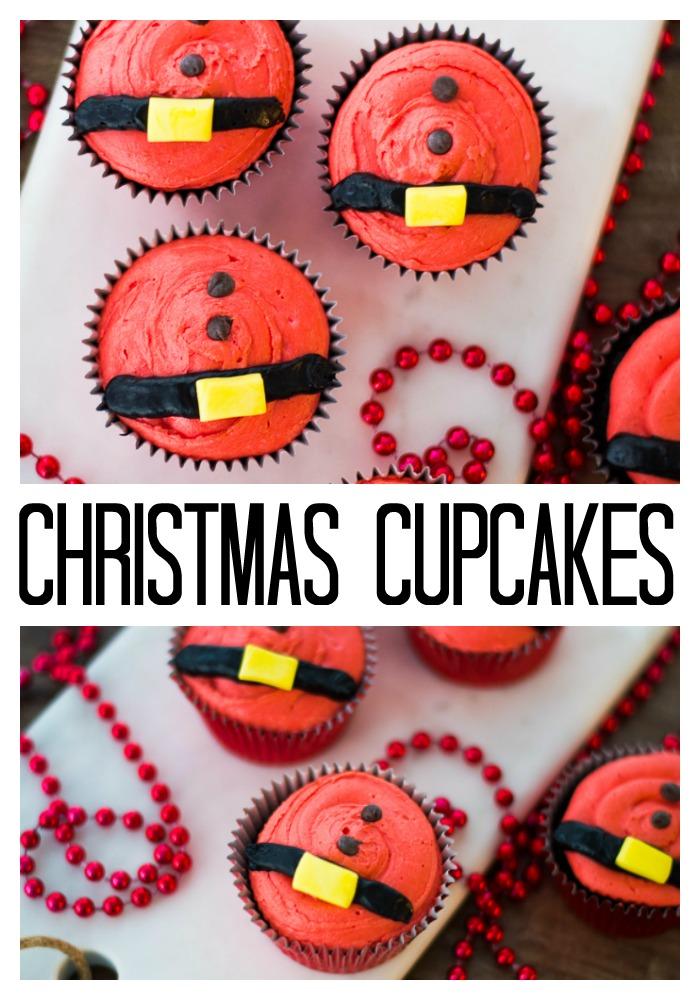 santa belt christmas cupcakes