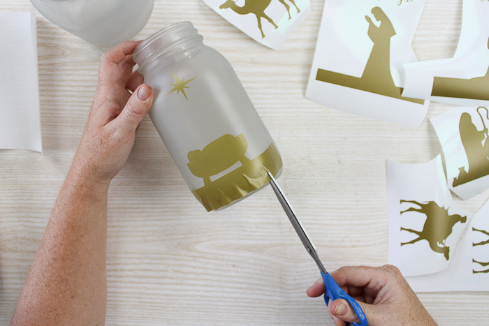 how to add vinyl to a mason jar
