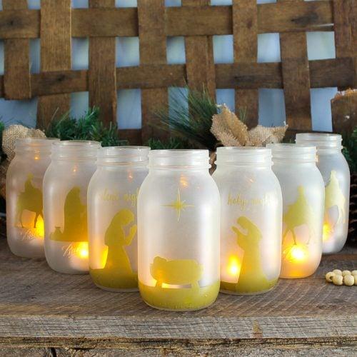 group of christmas jars