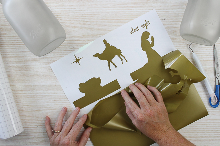 nativity scene cut from vinyl