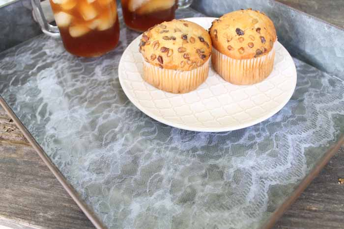 muffins on a coffee table tray