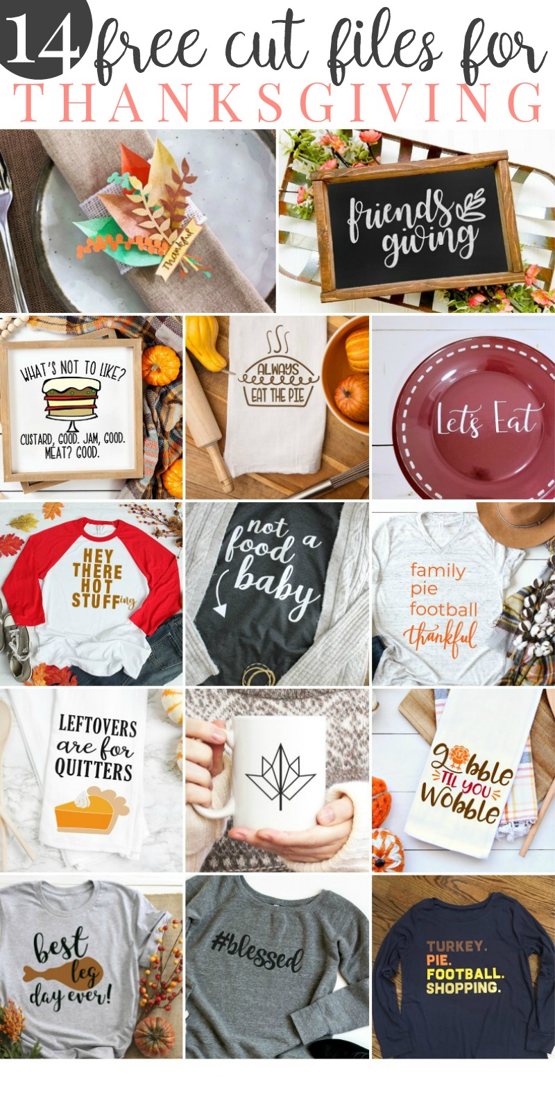 Free SVG files for Thanksgiving! Perfect for your Cricut or Silhouette machine and making all of the things for the holidays! #svg #thanksgiving #free