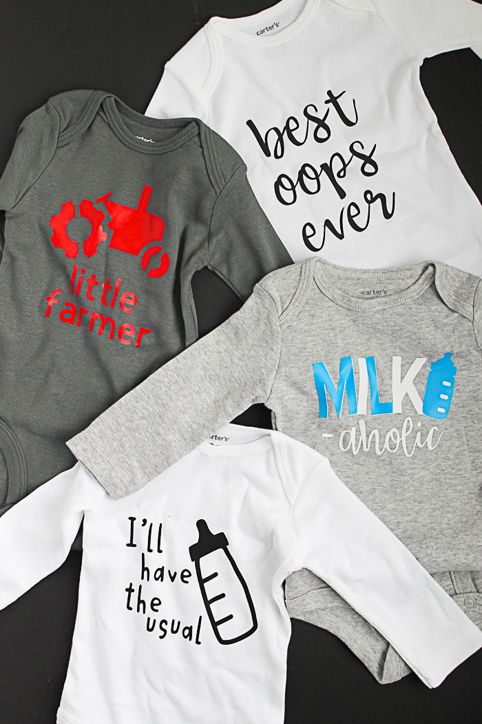 Make these cute baby onesies with heat treat vinyl! Get the cut files as well! #cricut #cricutmade #cricuteasypress