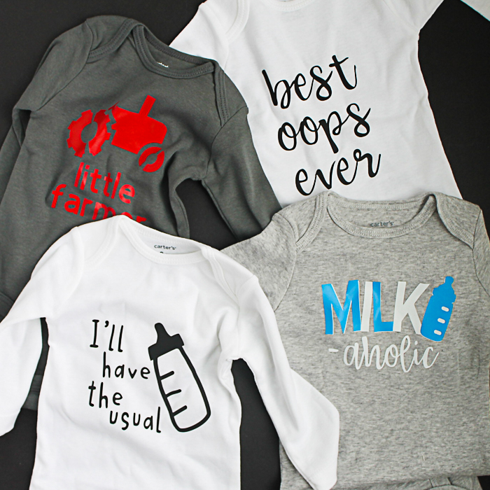 These would make great baby shower gifts! Funny baby onesies that include cut files! #cricut #cricutmade #cricuteasypress