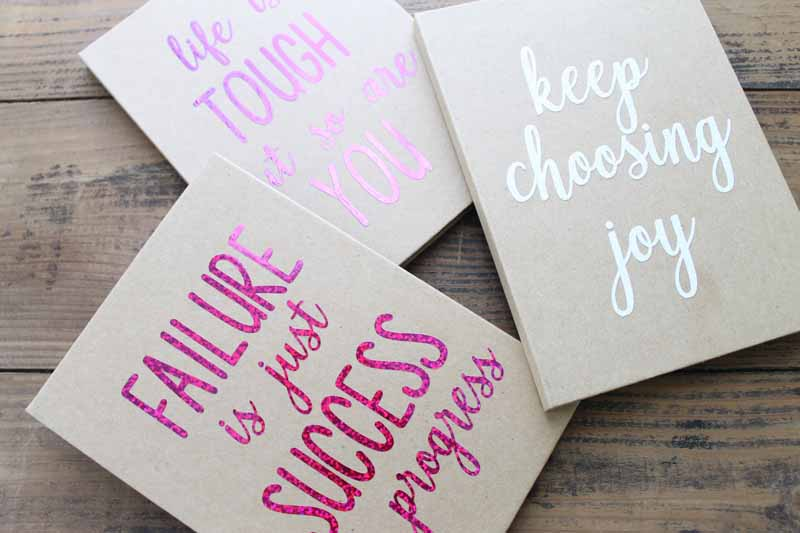 motivational quotes on a notebook