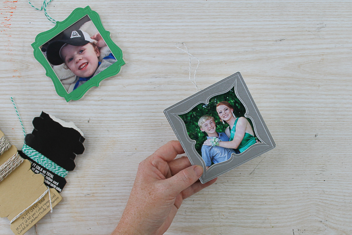 Add a picture to a Christmas tree ornament.
