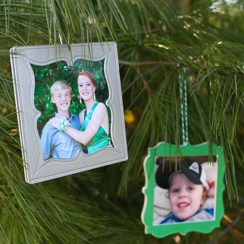 scored frame ornaments