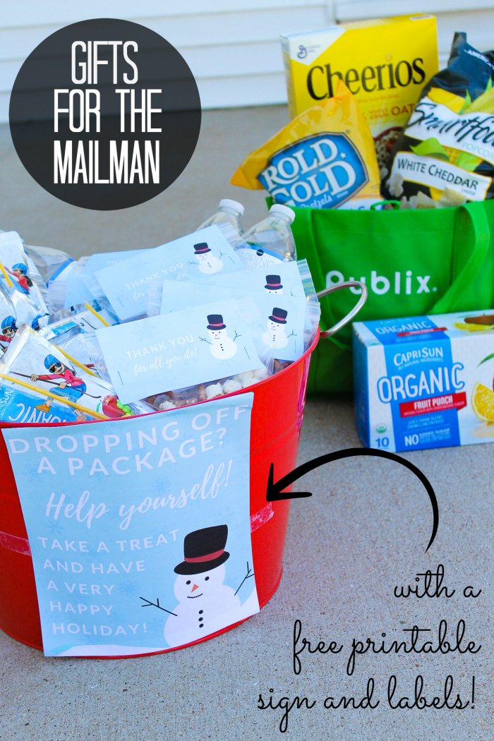 gifts for the mailman in a bucket