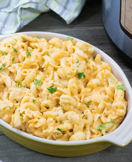macaroni and cheese in a casserole dish on a table