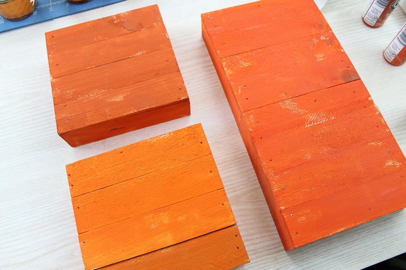 pallet boxes painted orange