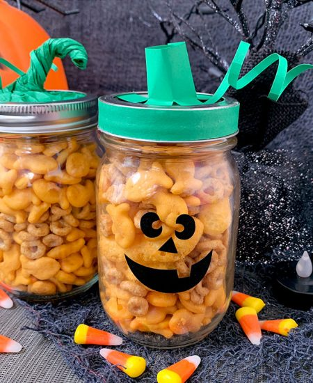 mason jar pumpkin treat jar