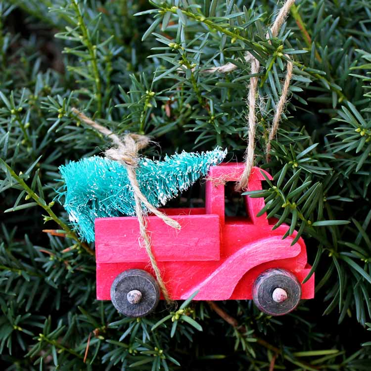 make this red truck with christmas tree ornament for your christmas decor a great addition