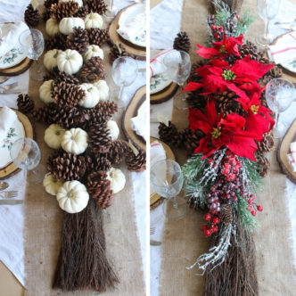 Table decoration ideas for both Thanksgiving and Christmas! Centerpieces, place settings, place cards, and so much more! #table #thanksgiving #christmas