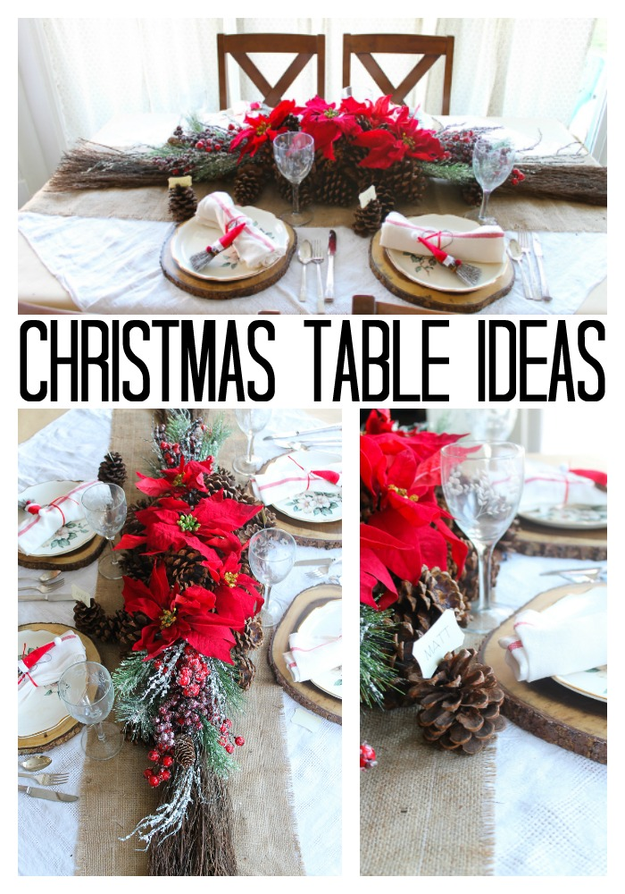 Great Christmas table ideas with scented brooms! You will love these simple ideas for your holiday tablescape! #christmas #tablescape