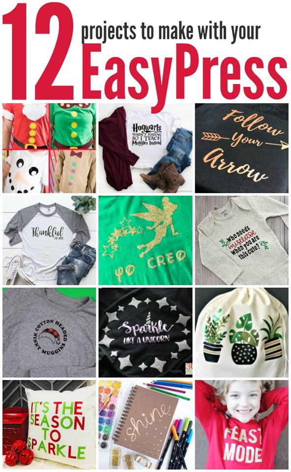 Twelve great crafts to make with your Cricut Easypress this holiday season! #easypress #christmas #cricut #cricutmade