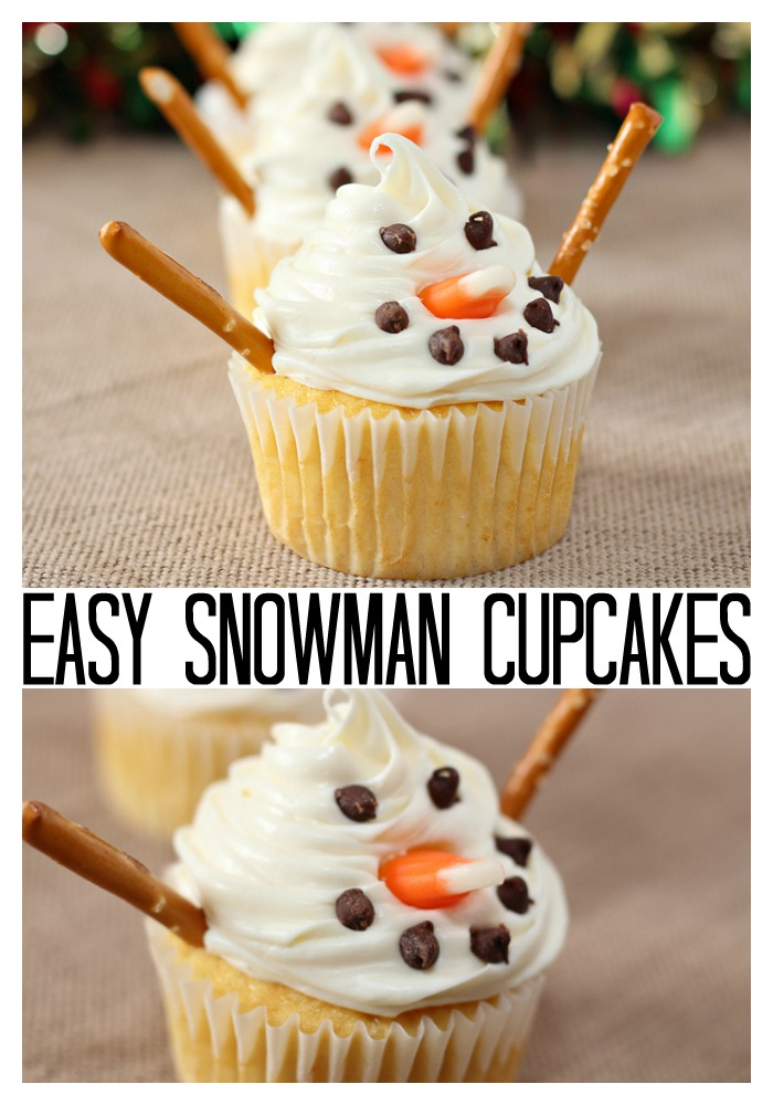 Make these snowman cupcakes for a winter treat or a kids' treat for the holidays! #snowman #cupcakes