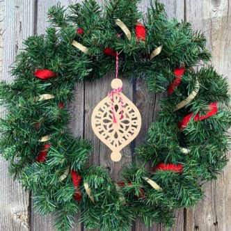 wreath wood cutout ornament