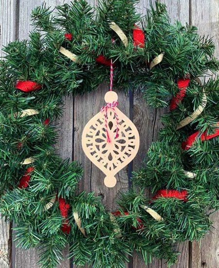 wreath wood cutout ornament