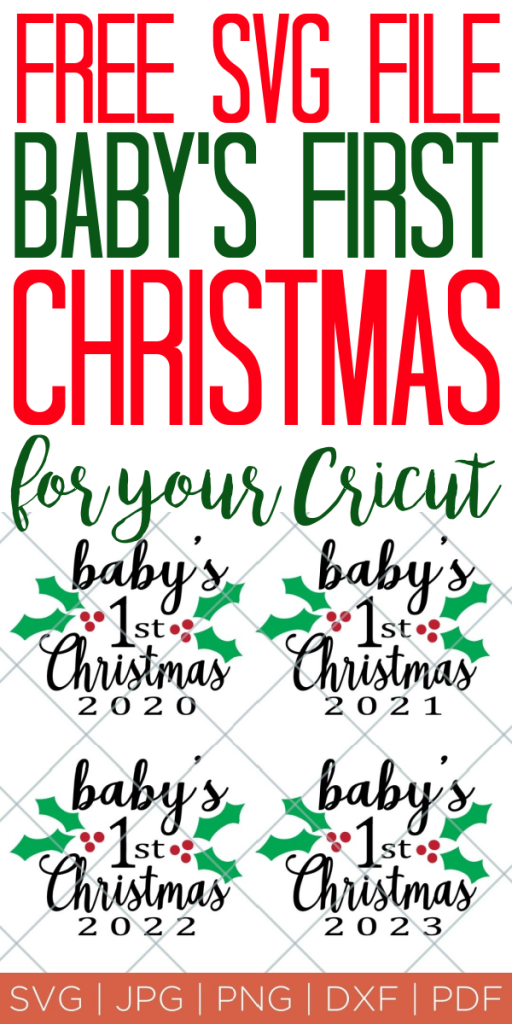 Get this baby's first Christmas SVG file for your little one! Perfect for onesies and ornaments to make baby's first holiday amazing! #baby #christmas #svgfile #freesvg #cricut #cricutmade