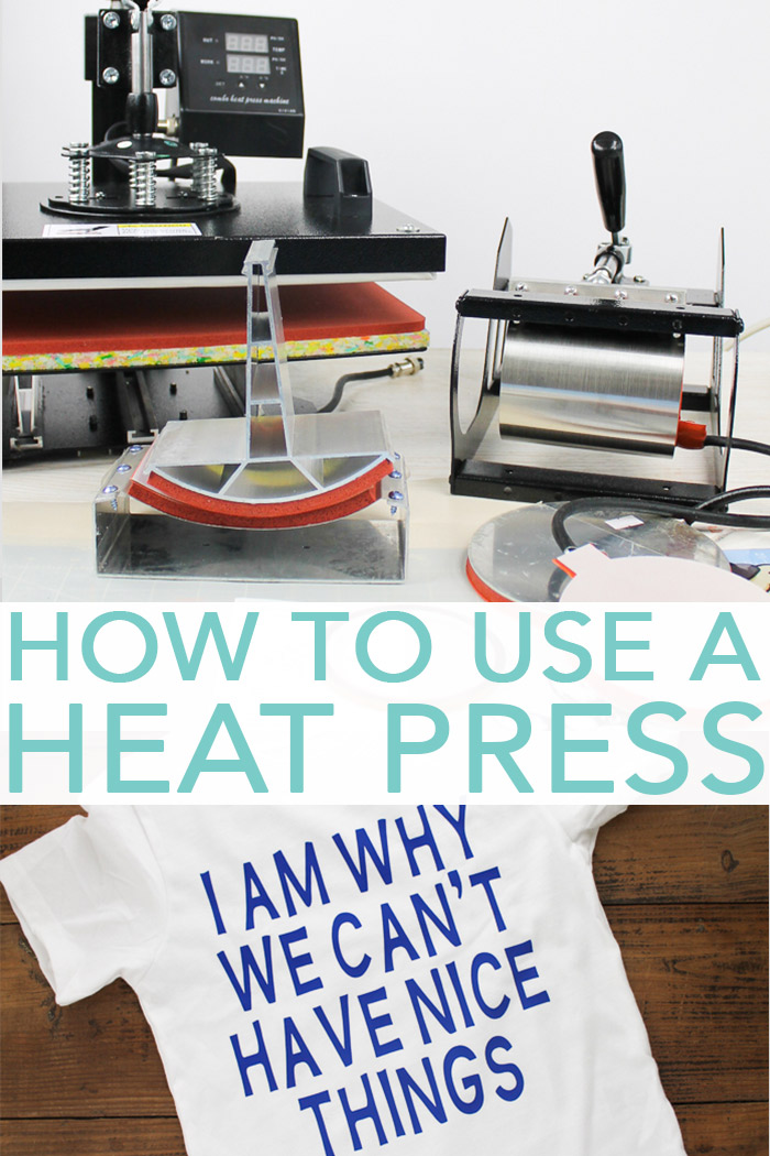 Learn how to use a heat press with all of the attachments. Includes how to use a hat press, plate press, mug press, and more! #heatpress #htv
