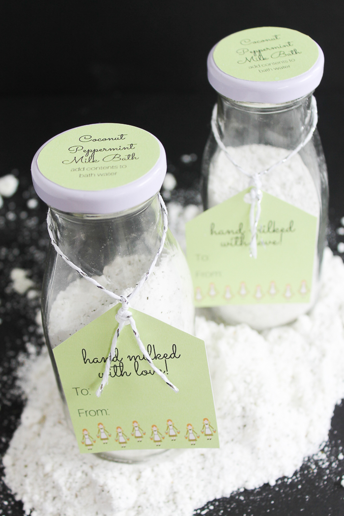 Whip up this milk bath recipe in a jar for a gift for the holiday season! Includes a free printable tag! Coconut Peppermint Milk Bath make a great gift idea! #gift #handmadegift