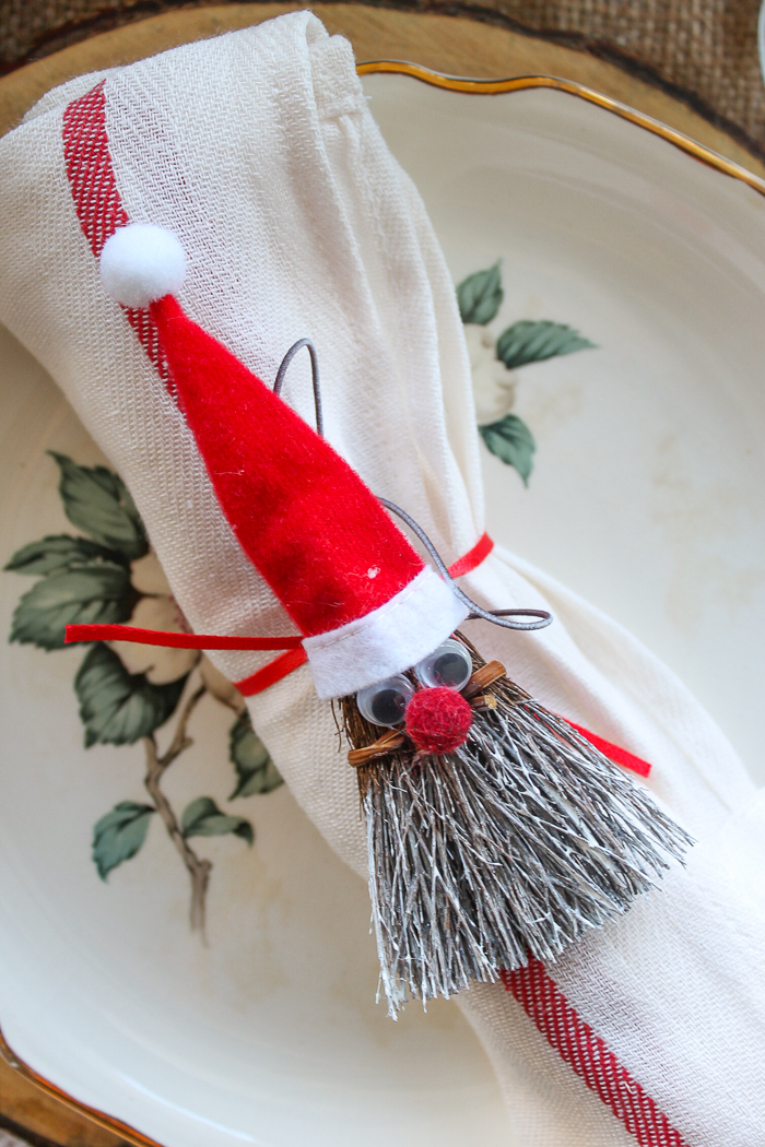 broom santa napkin ring