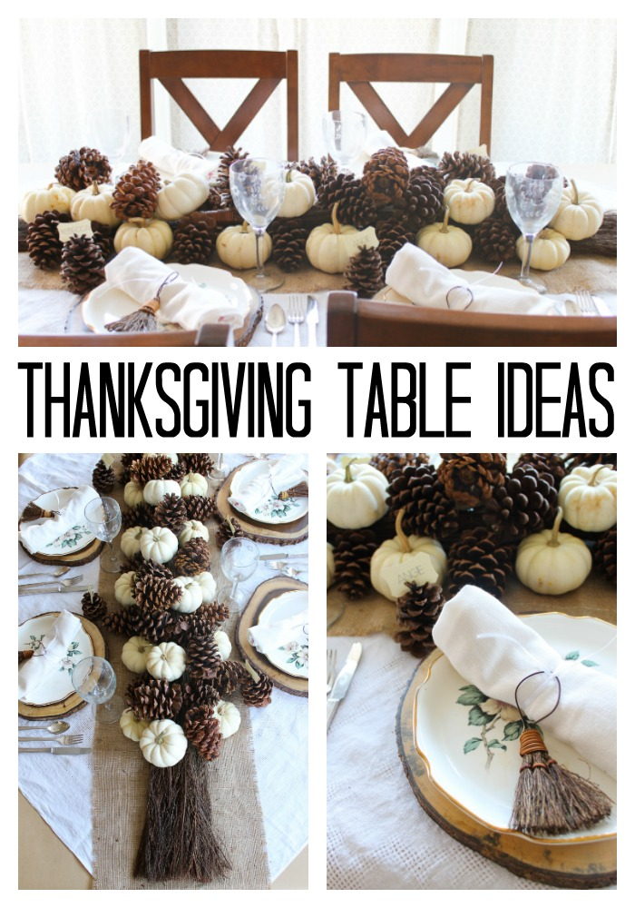 Our best Thanksgiving table ideas using brooms and pine cones as decorations! #thanksgiving #fall #pumpkins