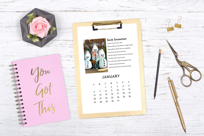 Print your own craft of the month calendar for 2019 for free! Then craft your way through the new year! #calendar #2019 #crafts