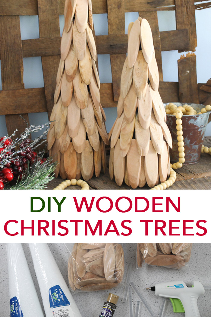 Make a wooden Christmas tree in just minutes with the simple DIY instructions in this post! A quick and easy way to add some rustic farmhouse style charm to your holiday decor! #christmas #rustic #farmhousestyle