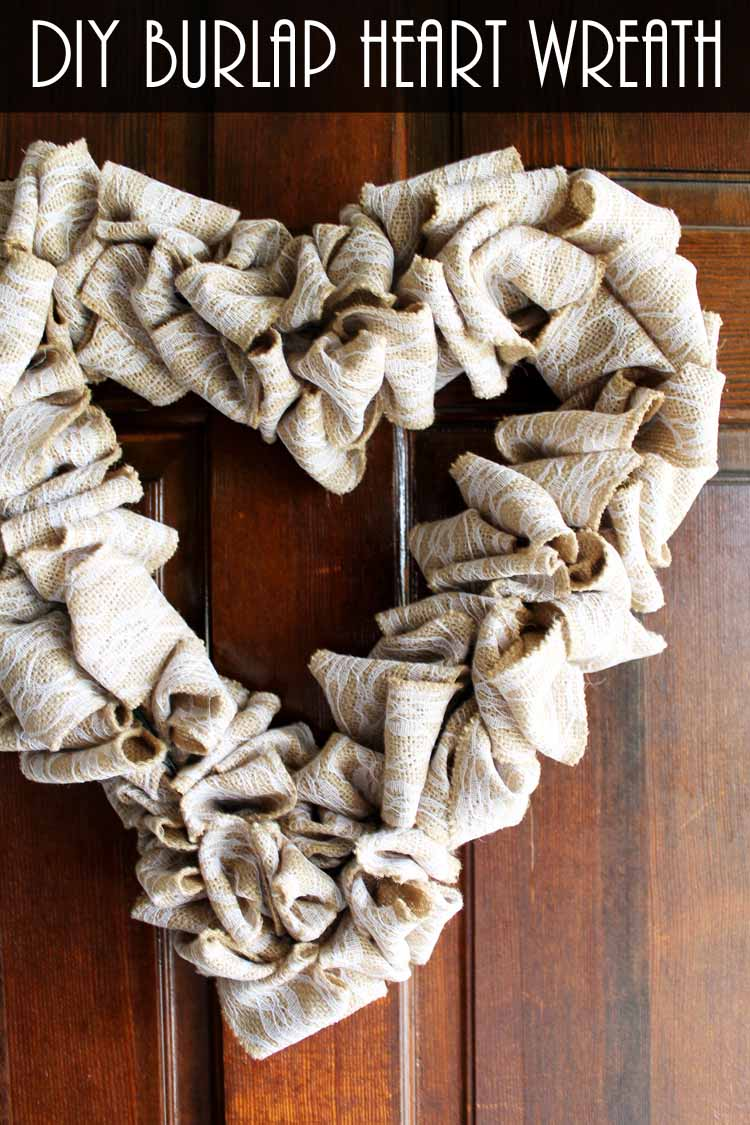 Heart Wreath Made With Burlap Ribbon The Country Chic Cottage