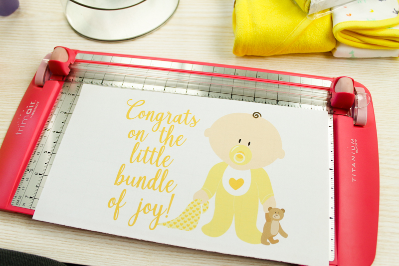 cutting baby shower gift tag to size
