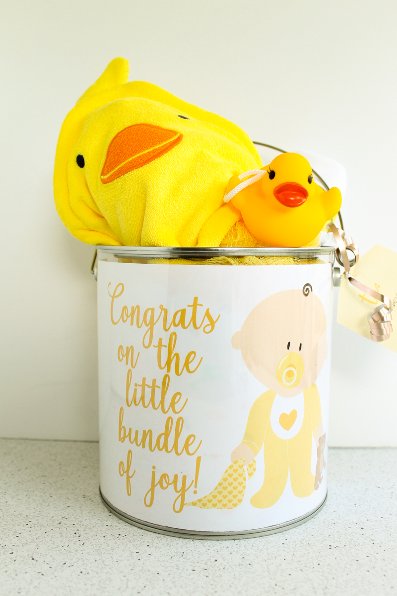 unisex baby gift in a paint can
