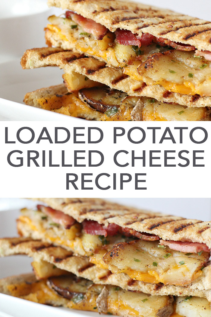 The best grilled cheese recipe - loaded baked potato grilled cheese with bacon! #recipe #cheese #yum #bacon
