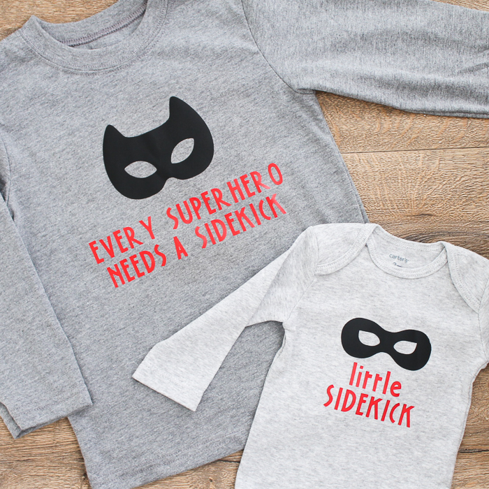 Make these big brother little brother shirts with your Cricut machine! Every little boy wants to be a superhero! #cricut #cricutmade #brothers