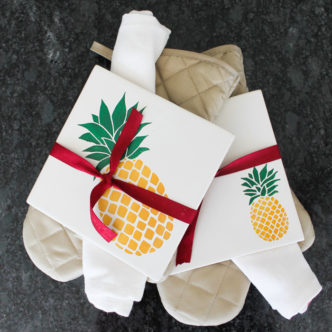 Ceramic Trivet with Painted Pineapples