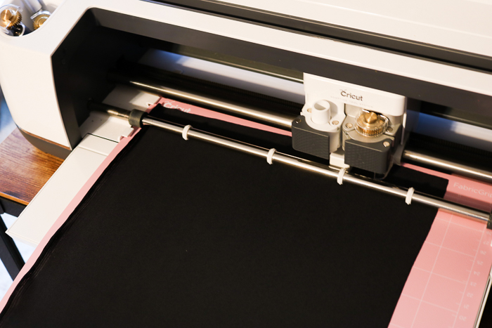 The Cricut Maker using the rotary blade to cut fabric.