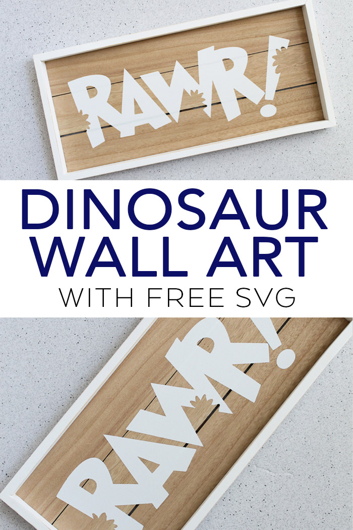 Make this dinosaur wall art for a kids room or nursery! Includes the free SVG file for creating this on your Cricut or Silhouette machine! #svgfile #freesvg #cricut #cricutmade #silhouette #silhouettemachine #dinosaur