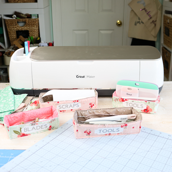 Cricut Machine with fabric storage bins