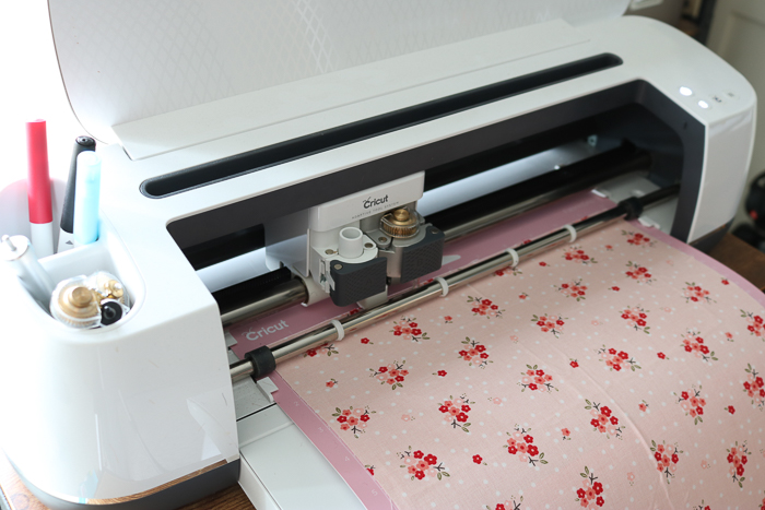 Cutting fabric with rotary blade on the Cricut Maker.