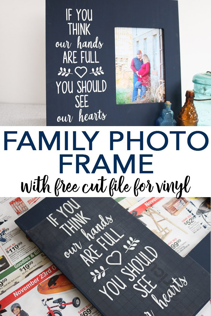 Make a family photo frame with this free SVG file! Includes more free SVG files for Valentine's Day! #family #photos #frame
