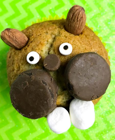 A close up of a groundhog day muffin