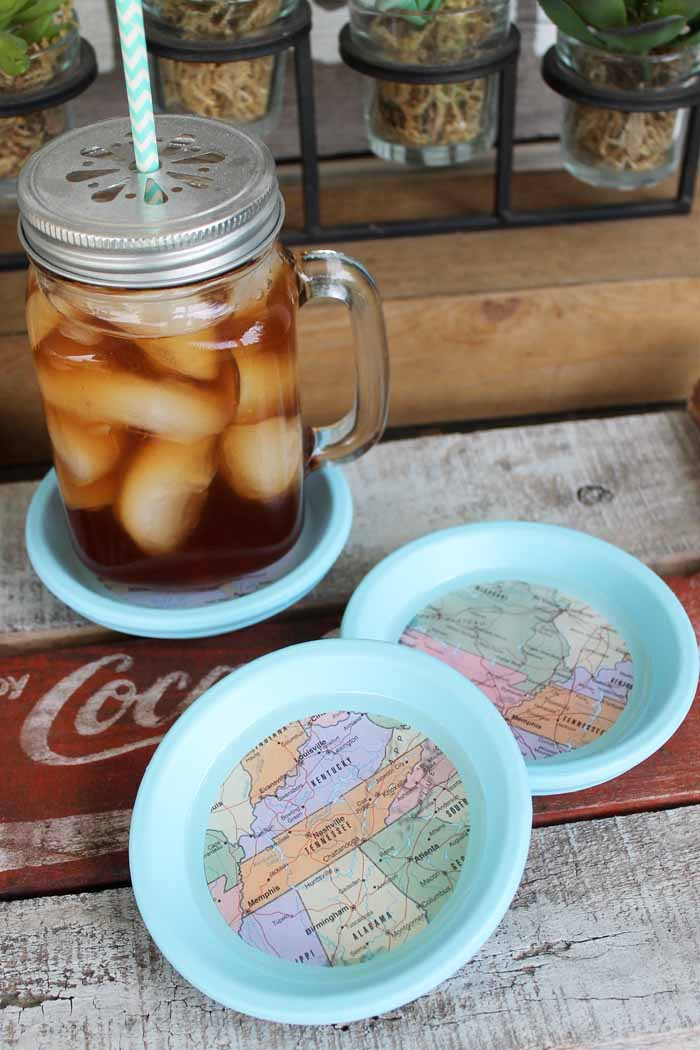 diy map coasters in use with a beverage