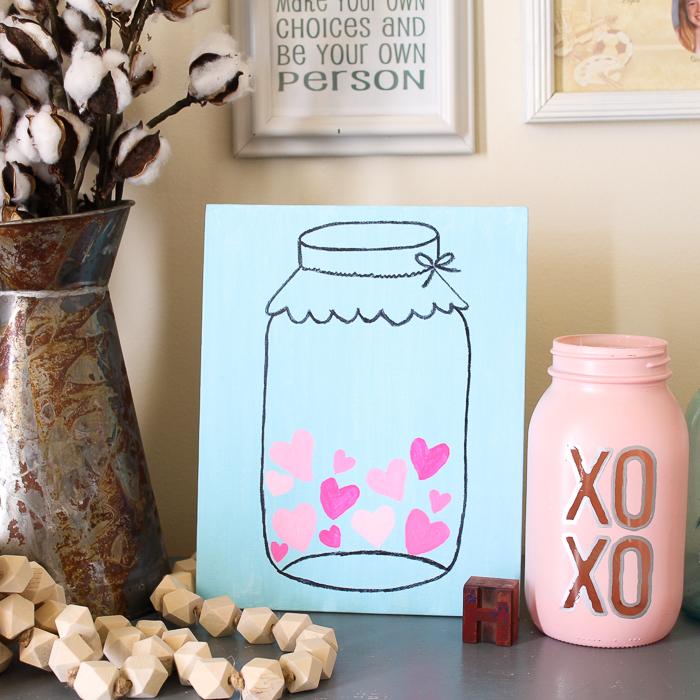 mason jar filled with hearts