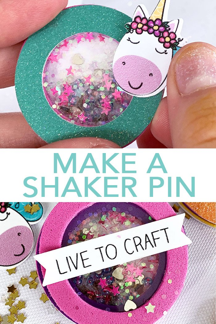 Make a shaker pin with a unicorn!  A fun craft for all ages!  #cricut #cricutmade #unicorn