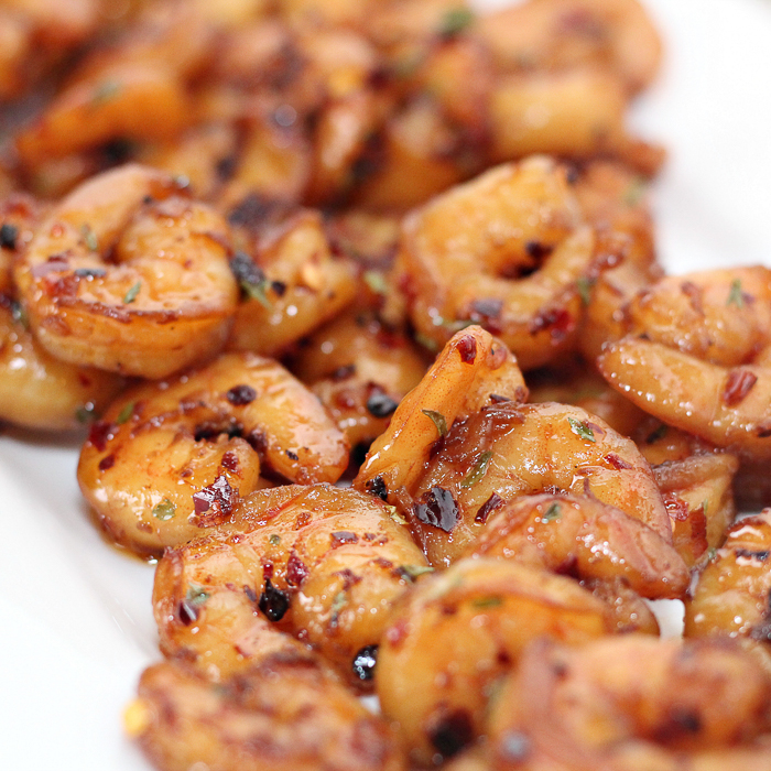 A close up of a plate of food, with Shrimp