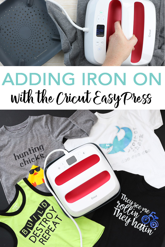 Learn how to use Cricut iron on vinyl with the Cricut EasyPress to make shirts and more! We also have advice on the best iron on vinyl for Cricut and layering heat transfer vinyl on your projects! #cricut #cricutmade #ironon #htv #toddlershirts #shirts