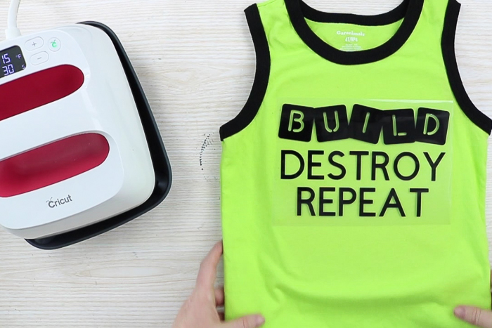 Cut file for build destroy repeat toddler shirt using Cricut iron on vinyl.