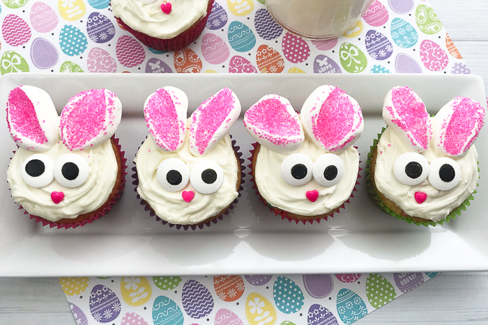 Cute bunny cupcakes that you can make in minutes!