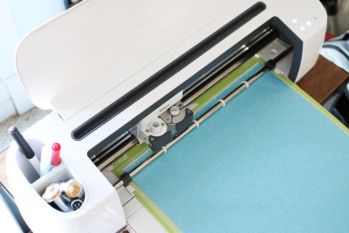 Cutting glitter vinyl with the Cricut Maker.
