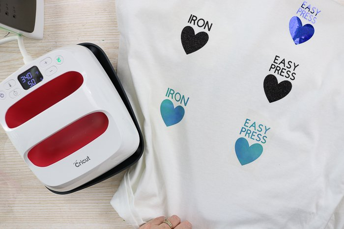 Applying a variety of iron-on materials to a shirt using the Cricut EasyPress.